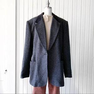 VTG 90s Y2K Blue Herringbone Pattern Blazer Jacket